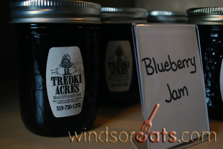 Blueberry Jam made fresh at Tredki Acres