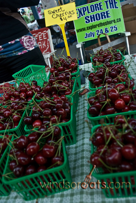 Local cherries on display at the Downtown Windsor Farmers Market