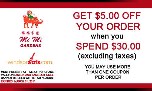 $5 off Mi Mi Gardens - Expires March 31, 2011