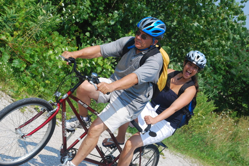 Pure enjoyment on the tandem bicycle. The Wine Trail Ride has tandems available for rent.