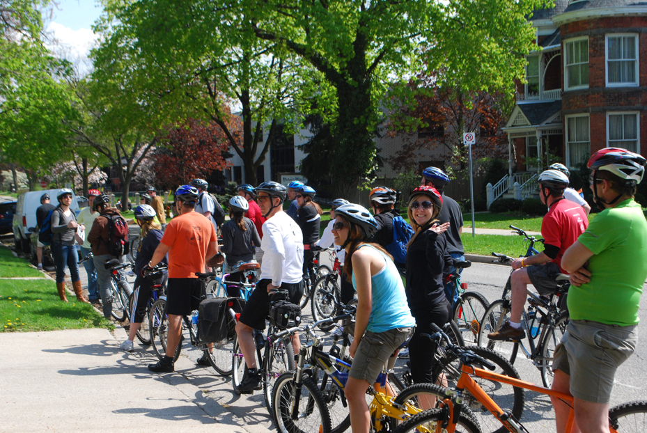 Bikes & Beers cycling tour participants stop to take in some culturally significant architecture in Windsor