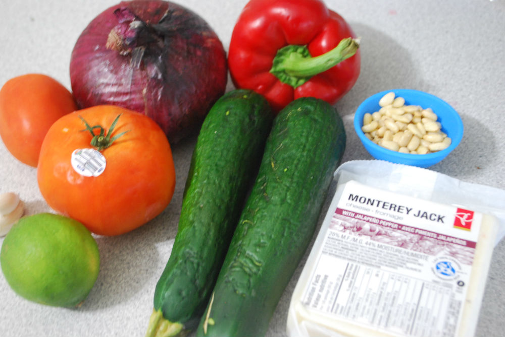 Ingredients for the Zucchini Quesadillas recipe