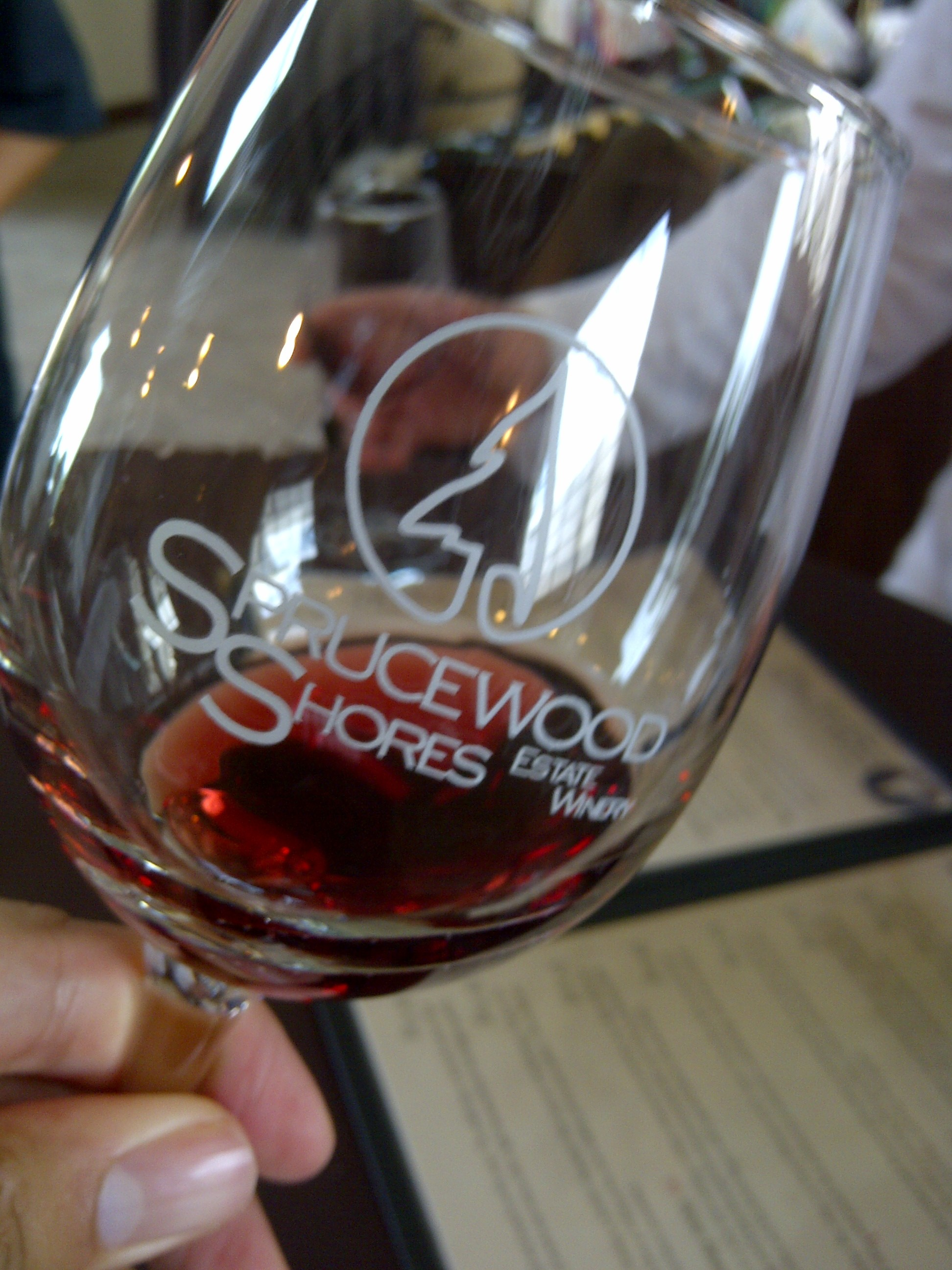 A tasting of red at Sprucewood Shores Estate Winery