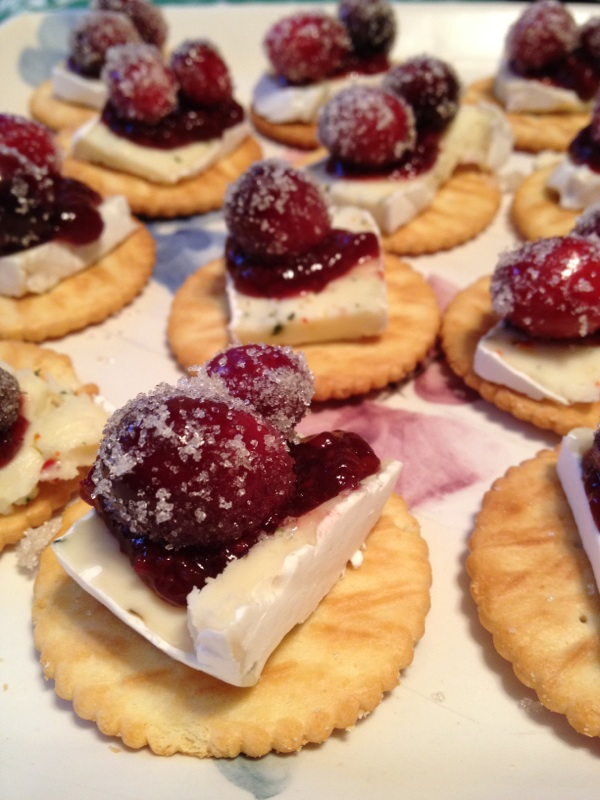 Maple soaked sugared cranberries with brie