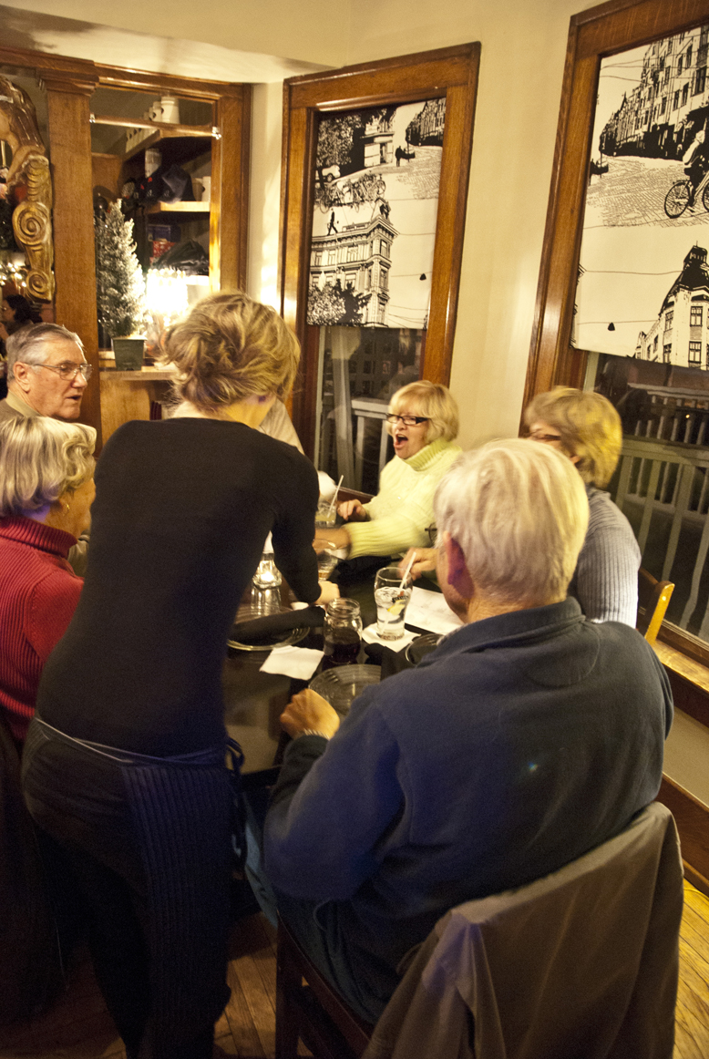 A server brings out one of the meal courses at Jack's trivia dinner nights, the first Monday of each month.