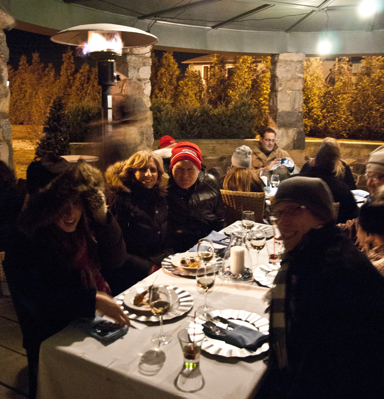 Guests dressed warmly to enjoy their meal at the Winter Wonderland outdoor dinner hosted by Mettawas Station in Kingsville, Ontario.