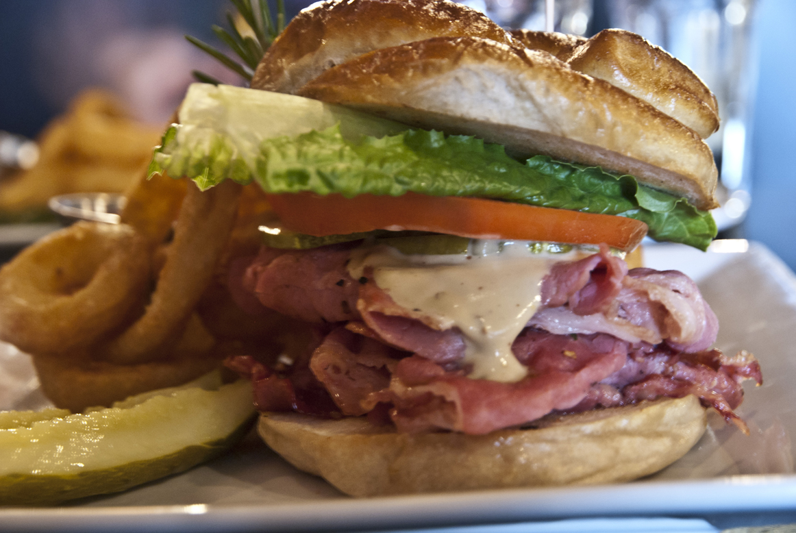 Piled High Corned Beef Sandwich from the lunch menu at The Main Grill & Ale House in Kingsville, Ontario