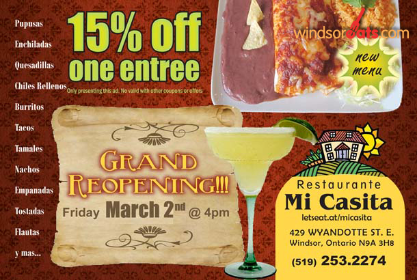 Discount for Mi Casita Grand Re-Opening on March 2, 2012