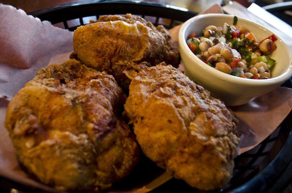 Sweet T's specialty: fried chicken with a side of black eyed pea salad