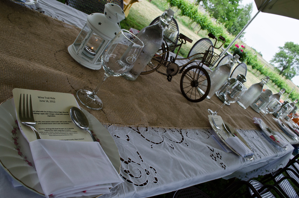 The Wine Trail Ride dinner is ready to be served alongside the vineyard