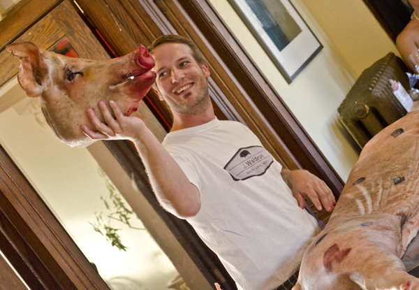 Rino's Kitchen hosted a pork butcher demo and dinner in July 2012