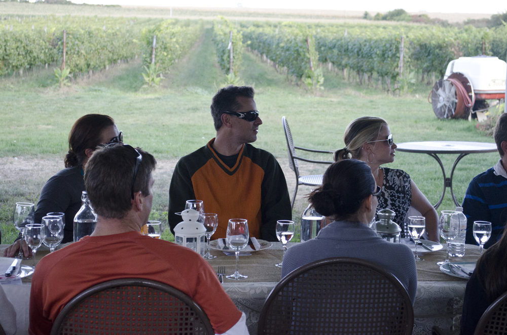 Long table dinner is about to commence on our Wine Trail Ride cycling tour