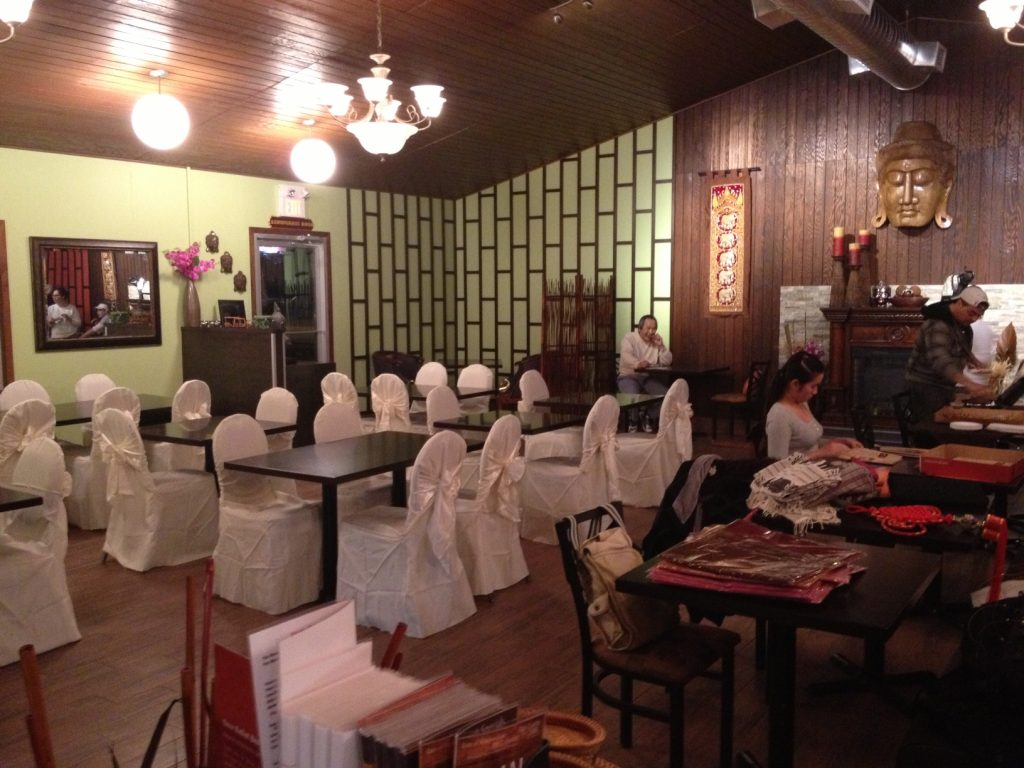 Thai Palace Restaurant getting the finishing touches completed the day before their re-opening at their new location