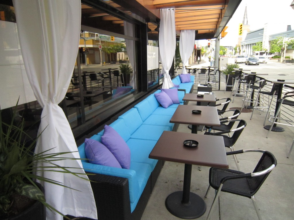 The patio at The City Grill in downtown Windsor