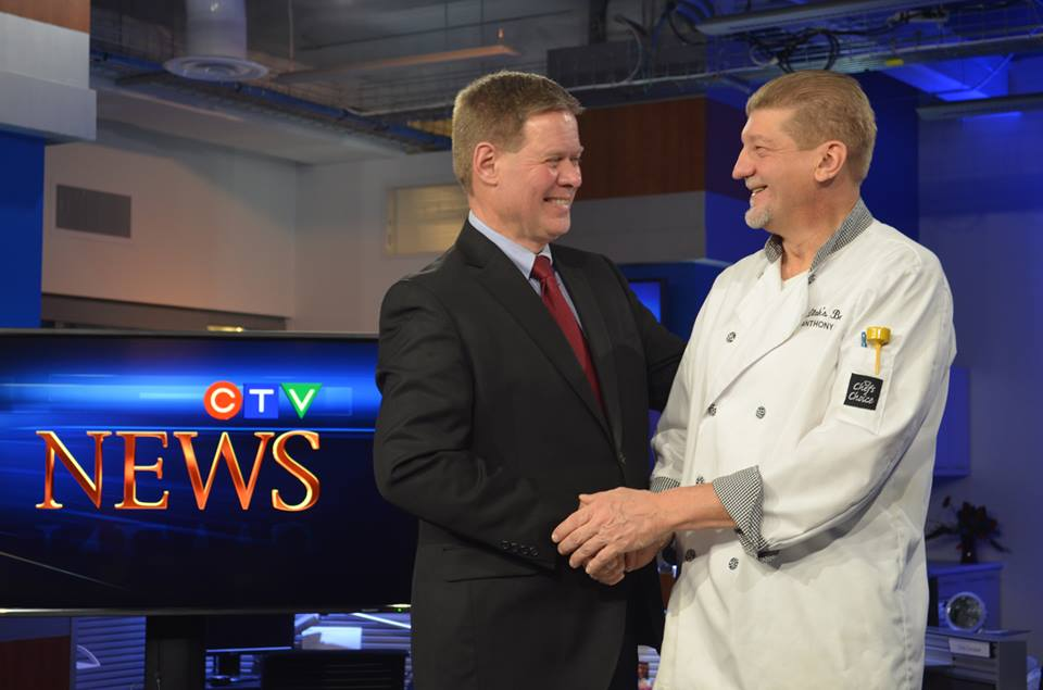 Tony Blak of Blak's Bakery with Jim Crichton of CTV Windsor