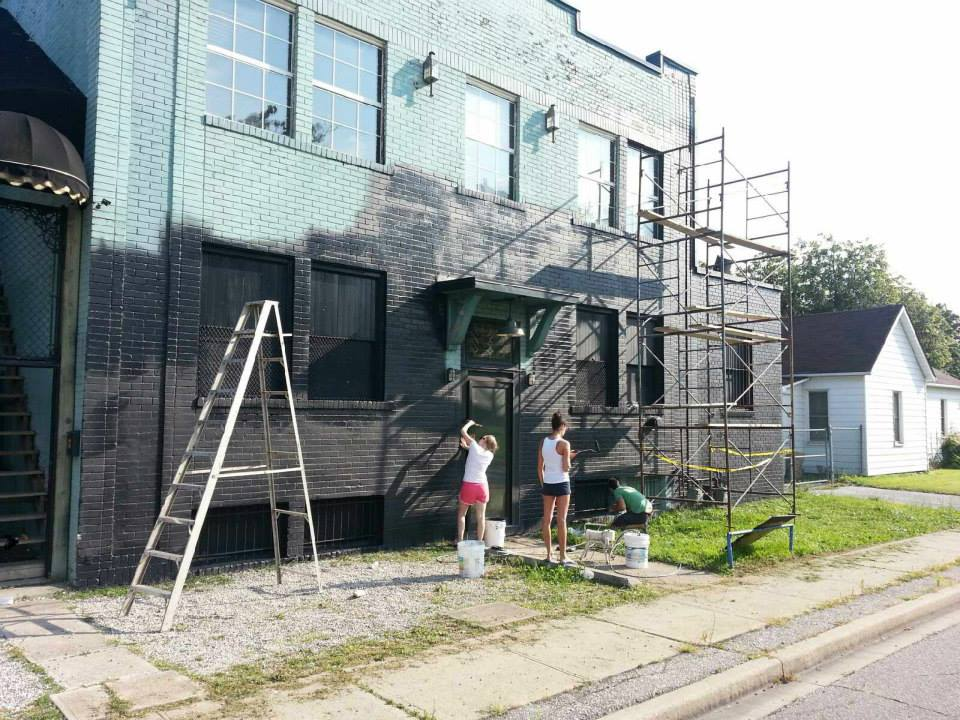 Work on the exterior of the soon to be opened Brew
