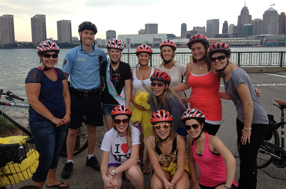 A bachelorette party enjoys a stop during a Bikes & Beers Cycling Tour