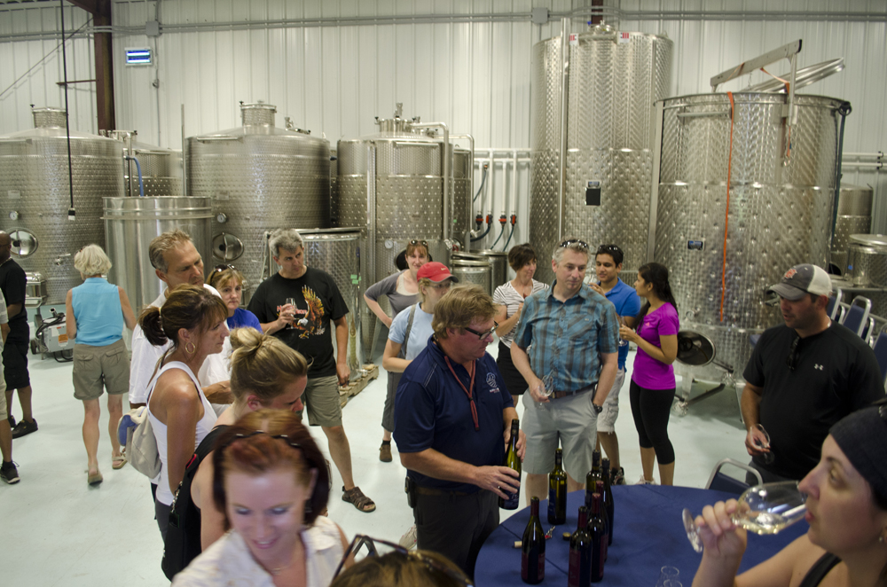 Wine Trail Ride participants enjoying North 42 Degrees Estate Winery