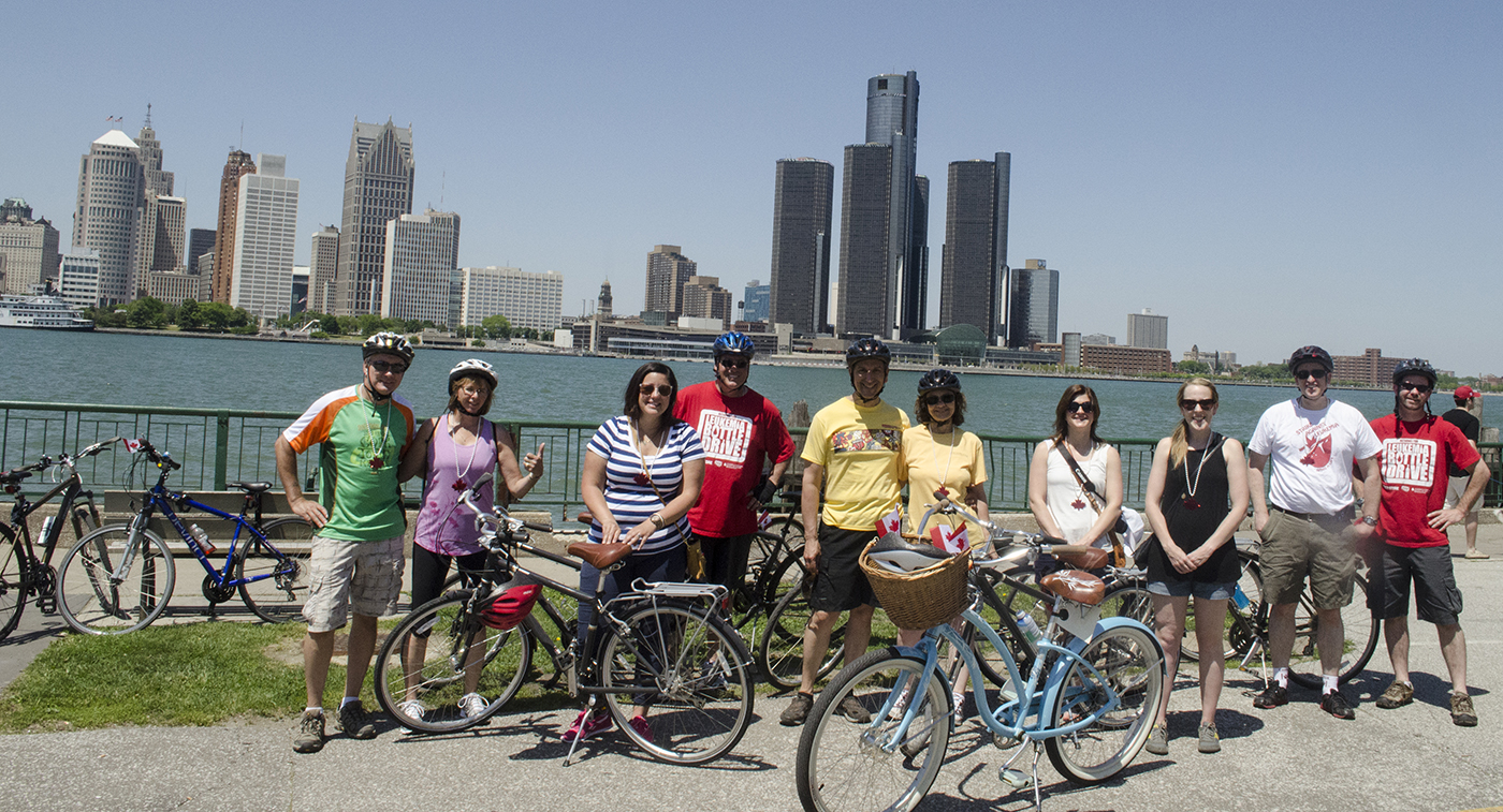 Bikes & Beers in Windsor, Ontario with Detroit as a backdrop.