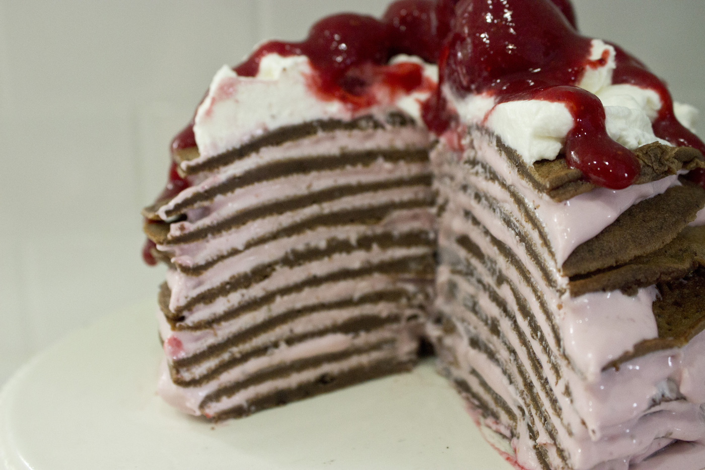 Chocolate Crepe Torte with Strawberry Cream Cheese Filling