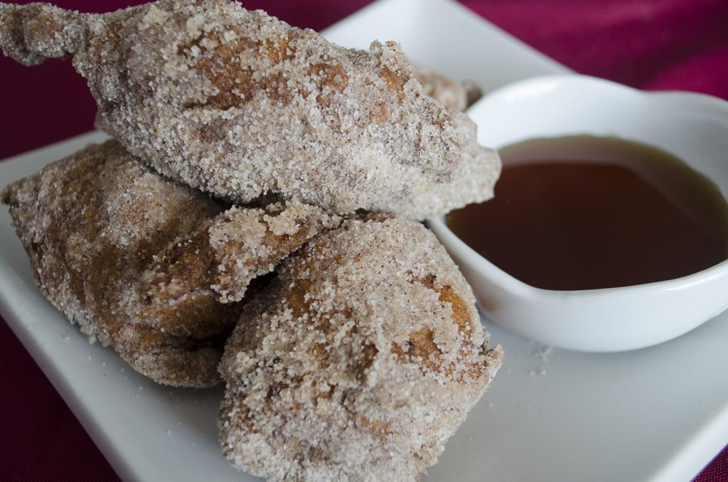 Maple Bacon Apple Fritters at Honey Badger Bistro