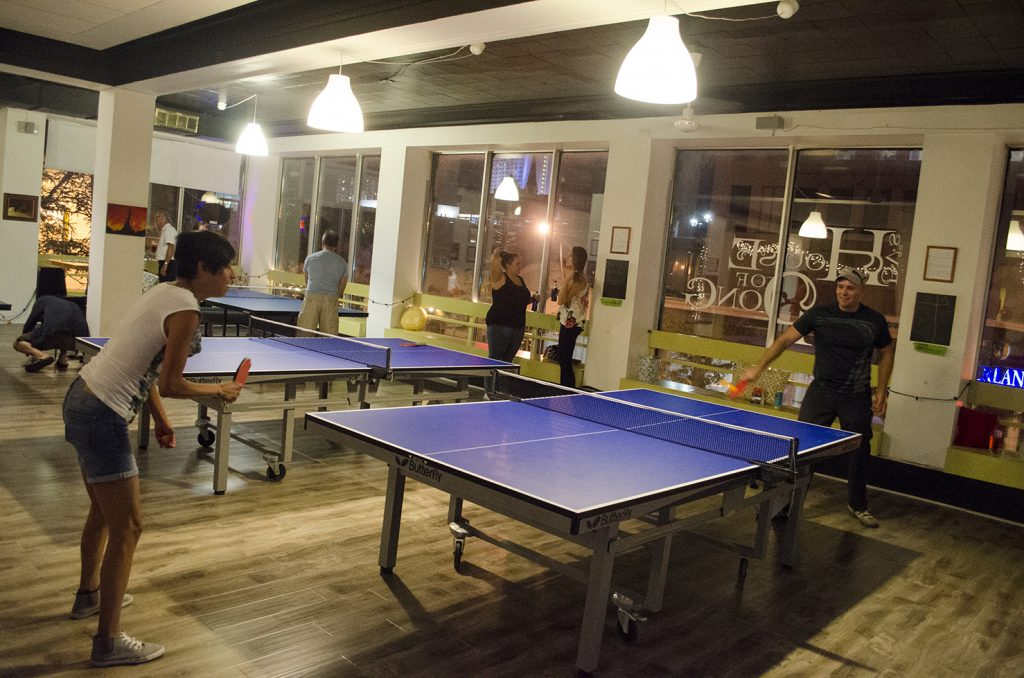 Friday Night Light participants enjoying House of Pong