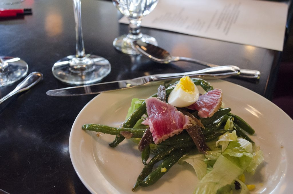 Nicoise Salad was the first course during a cooking class at Mauro's on Erie