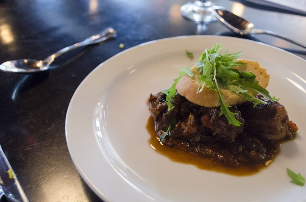 Beef Bourdignon was the second course during a cooking class at Mauro's on Erie