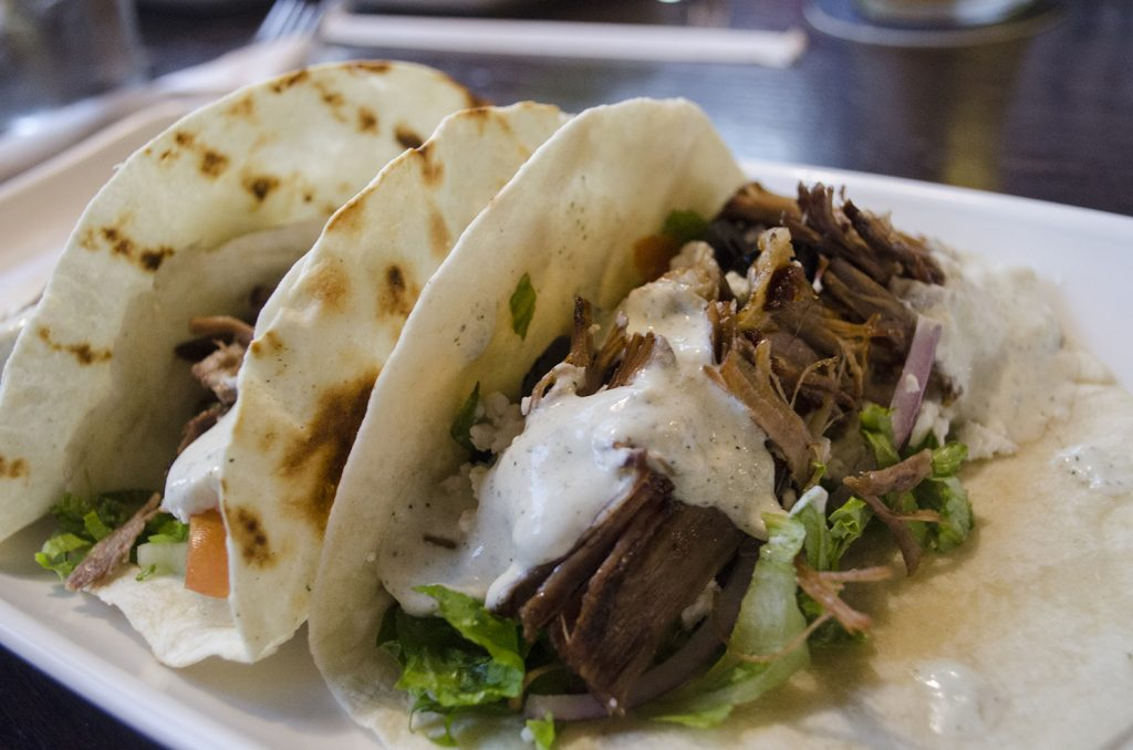 Greek Steak Tacos from The Leaf Grill
