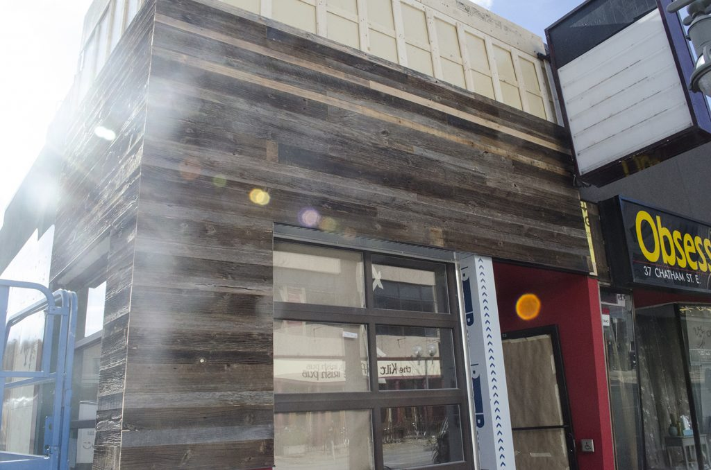 The soon-to-be completed facade of Snack Bar-B-Q