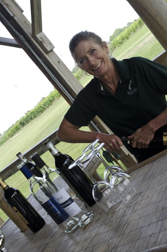 Always a big smile on the face of Alma of Erie Shore Vineyard