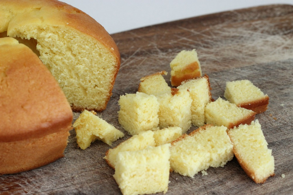 Lemon pound cake cut into bite sized pieces.