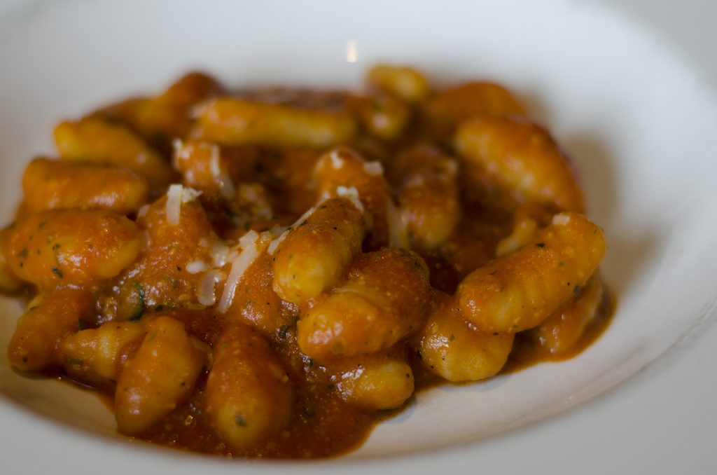 Gnocchi with a simple tomato sauce.