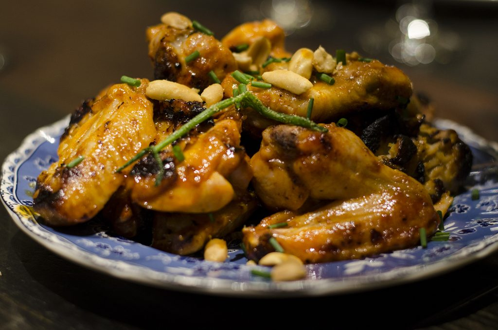 Chicken wings, Korean style.