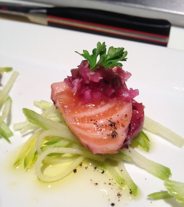 Meritage soaked salmon crudo. Photo by Ted Dimoglou.