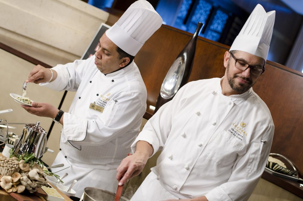 Chefs at Neros Steakhouse serving up some samples at a menu tasting event in January 2015.