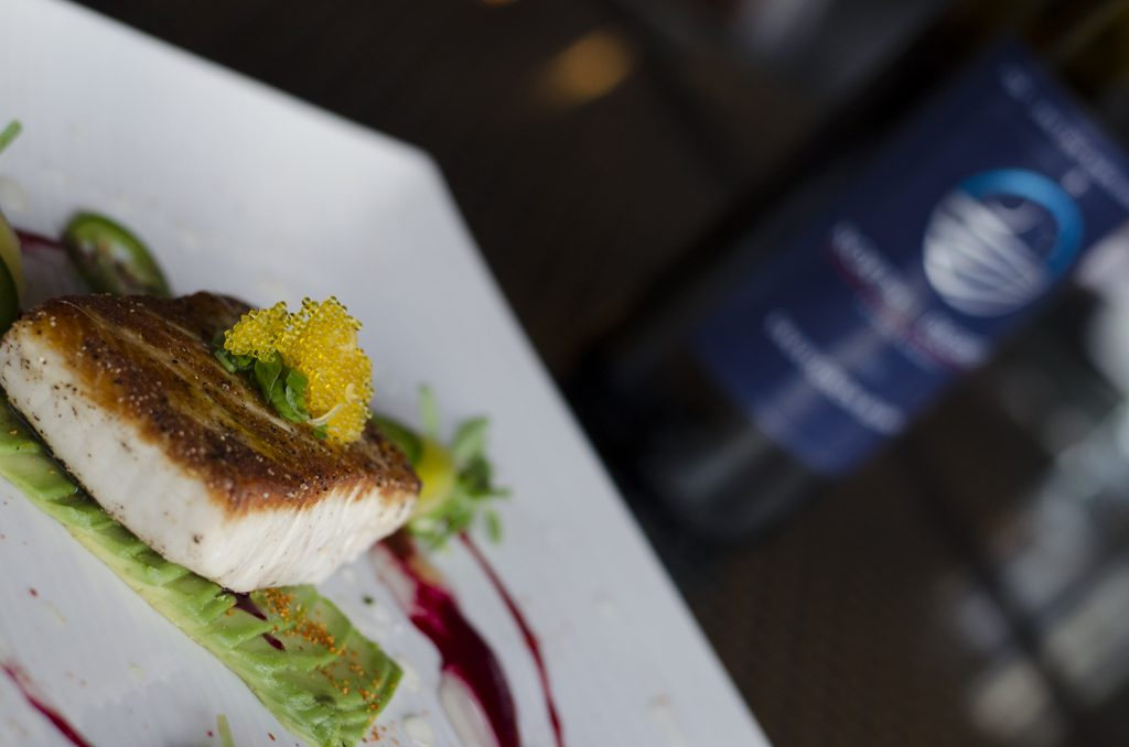 Seared Hamachi paired with Sauvignon Blanc from North 42 Degrees Estate Winery