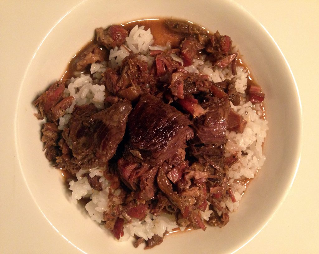 A twist on the traditional Coq au Vin: Goose au Vin