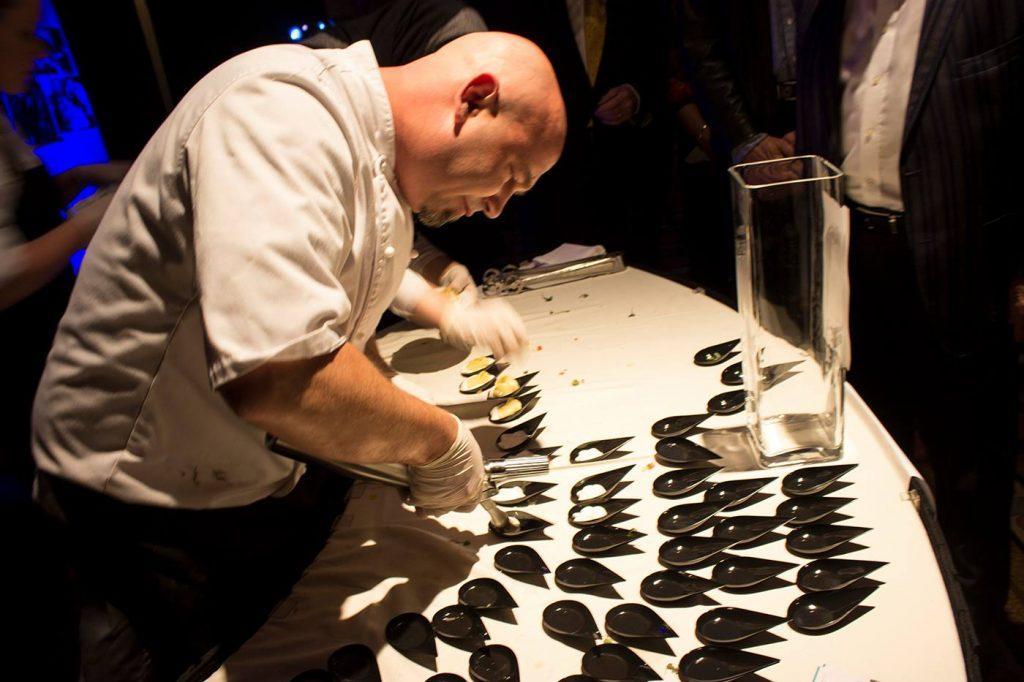 Shawn McKerness prepping recently at the Battle of the Hors D'Oeuvres