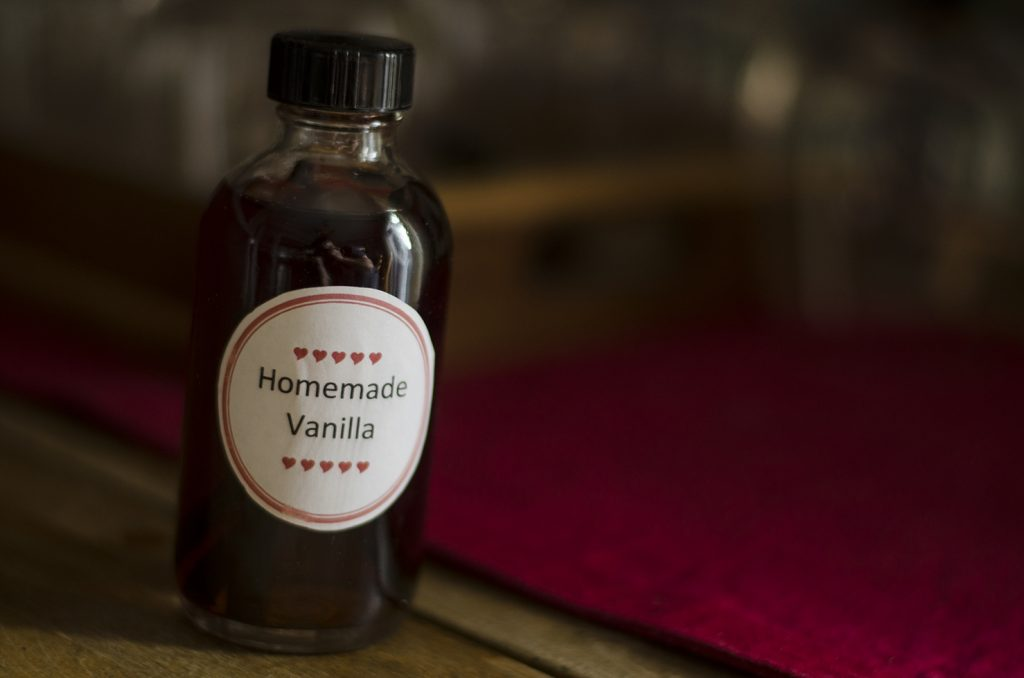 A bottle of homemade vanilla.