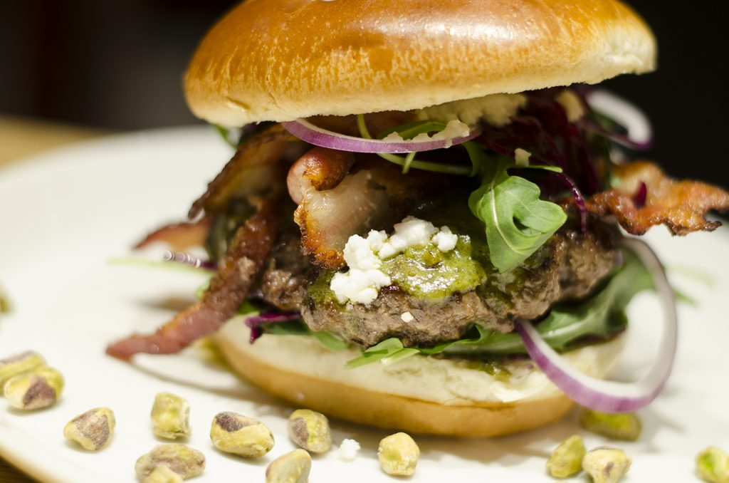Apparently pistachios and burgers are a delicious, delicious combination. Who'd have thought?