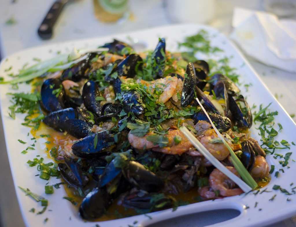 Mussels and Shrimp in Chorizo Wine