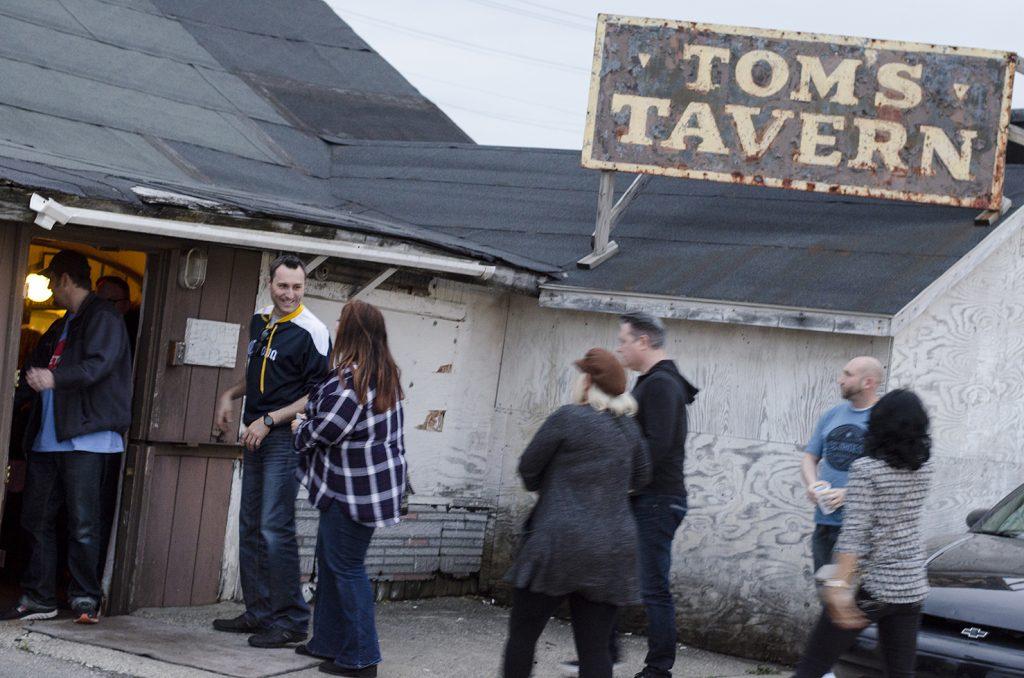 Visiting the oldest bar in Detroit, Tom's Tavern.