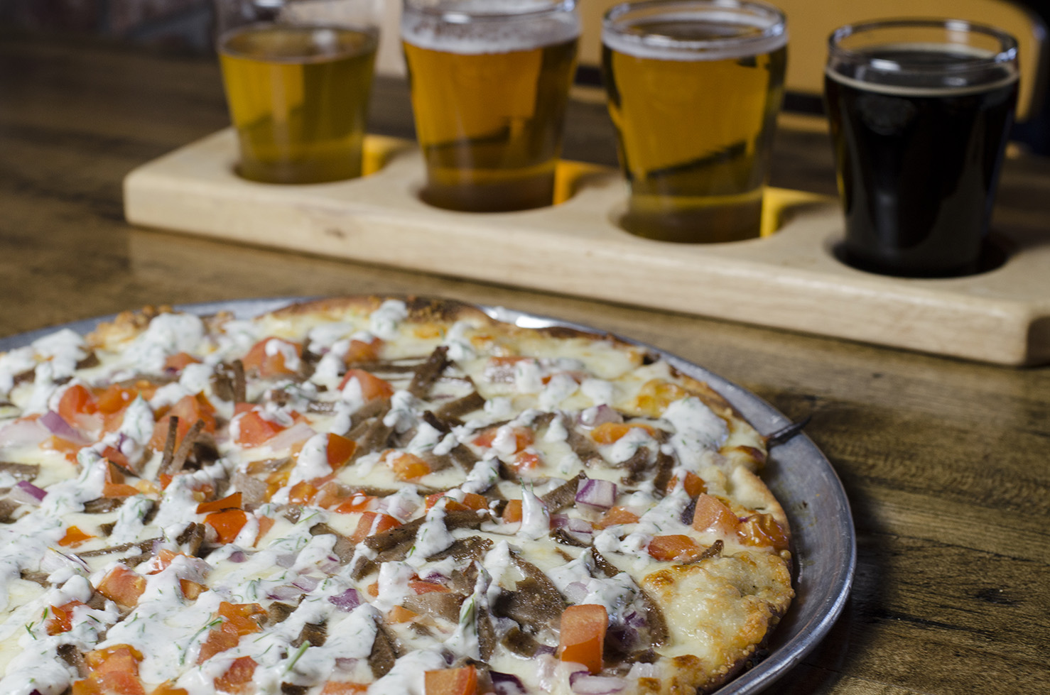 Pizza and beer at Frank Brewing Co.