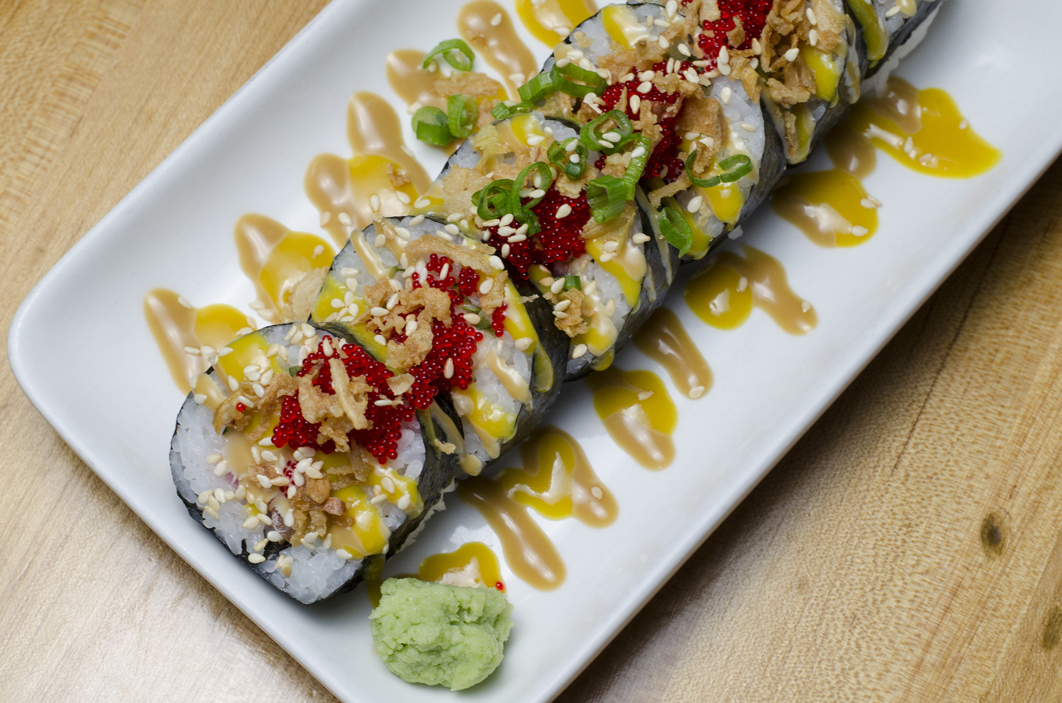One of our favourite sushi rolls in the city: Black Jack from Tiki Sushi.