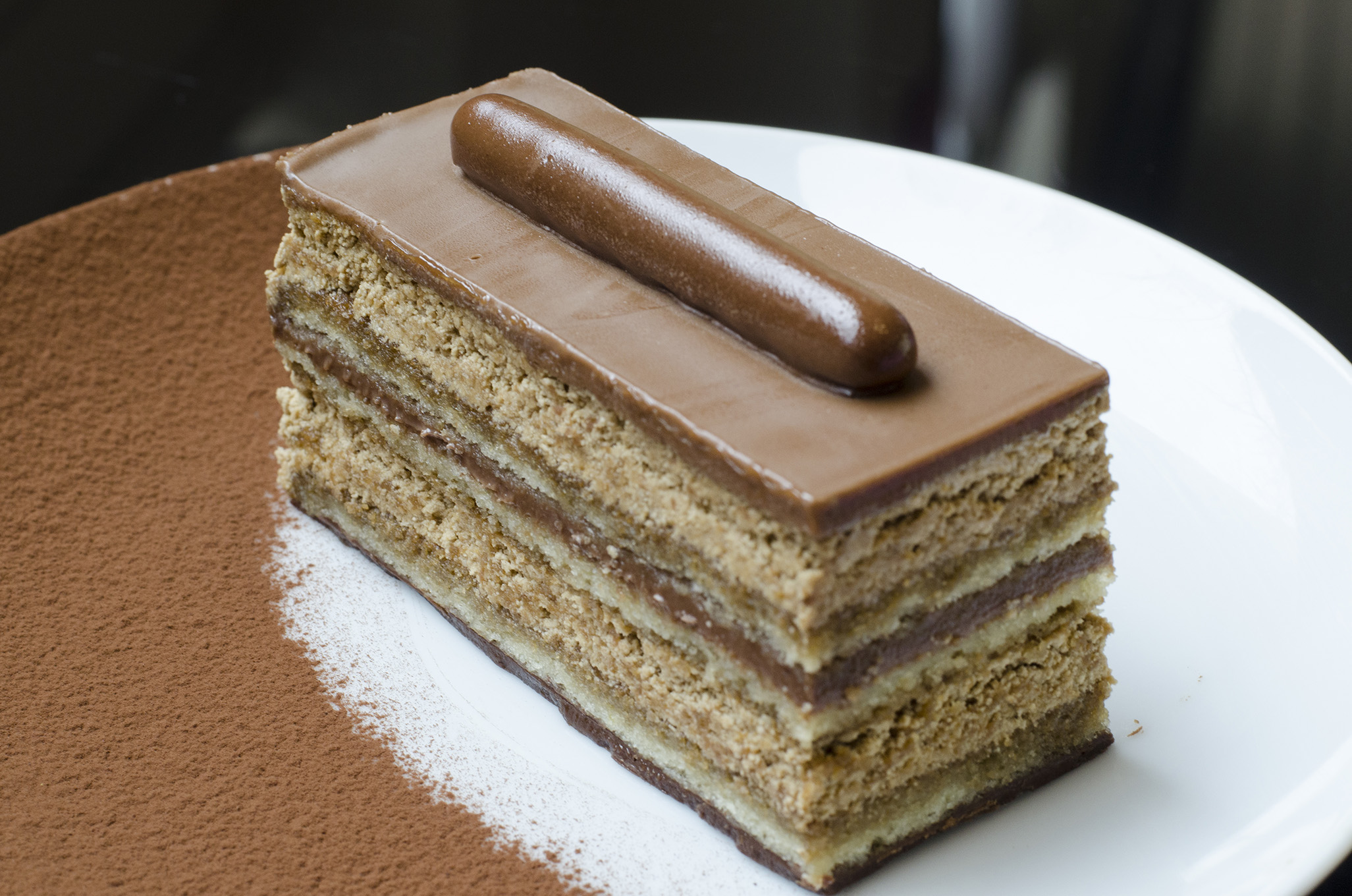 Opera cake was made famous in Paris, France.