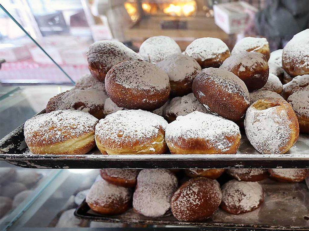 Display full of paczki at Stiemar Bakery in Windsor, Ontario.