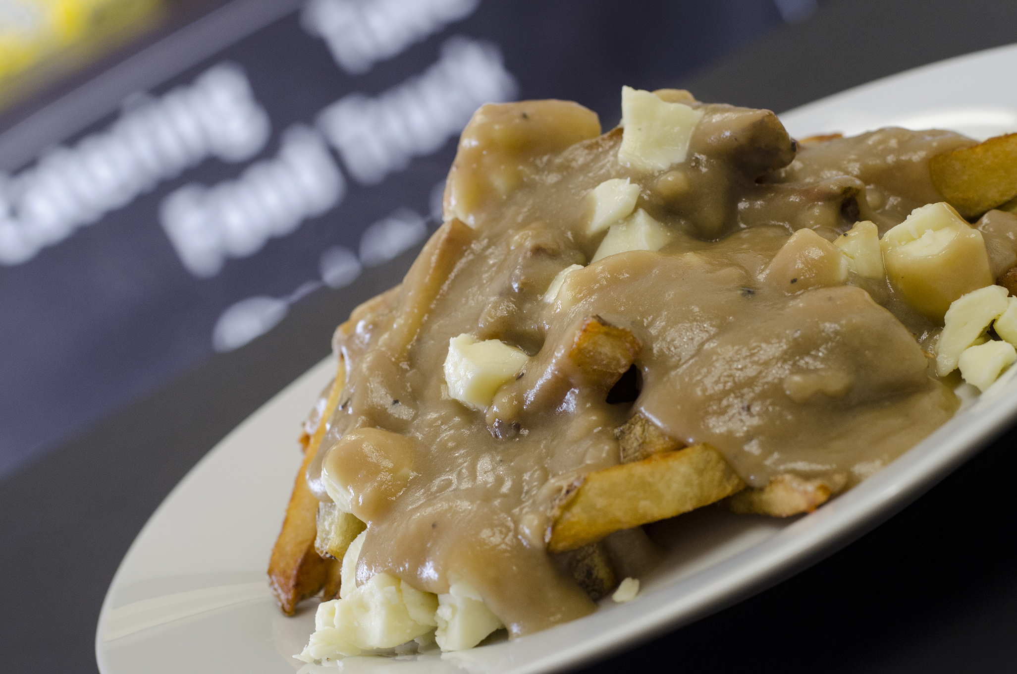 Poutine loaded with real Quebec cheese curds from Road Chef in Windsor, Ontario.
