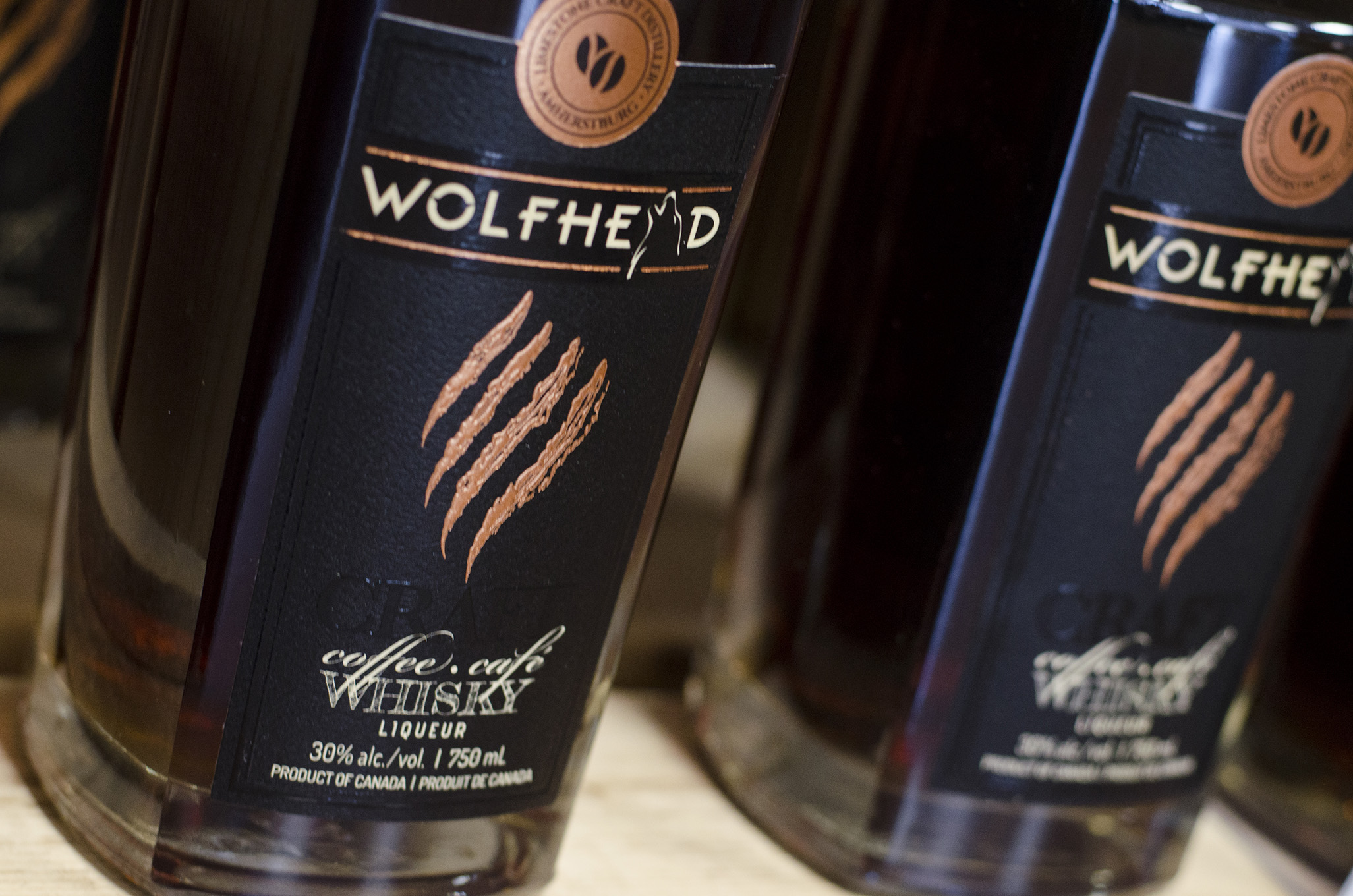 Wolfhead Coffee whisky is distilled at Wolfhead Distillery in Amherstburg, Ontario.