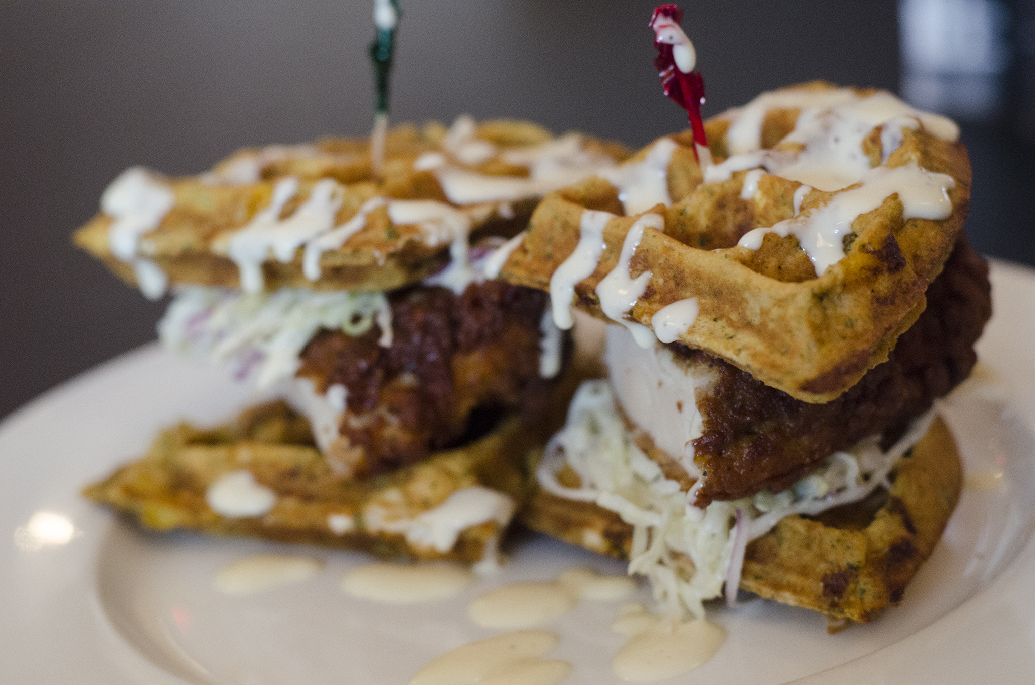 Fried Chicken & Waffle Sliders from Nola's in Windsor, Ontario.